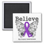 Believe Epilepsy Awareness 2 Inch Square Magnet