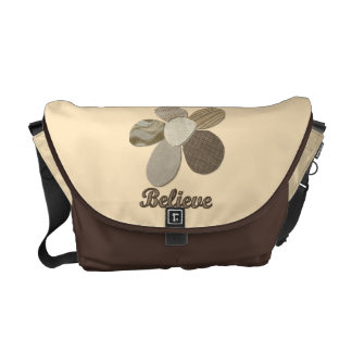BELIEVE Fabric Flower Collage Courier Bag