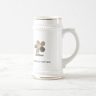 BELIEVE Fabric Flower Collage Mug