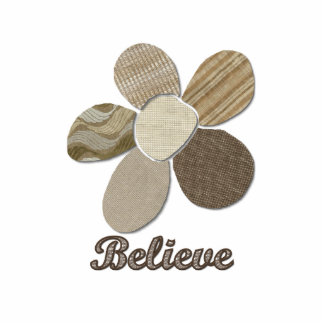 BELIEVE Fabric Flower Collage Statuette