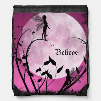 Believe fairies moonlight Drawstring Backpack