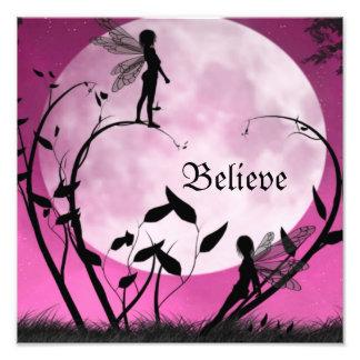 Believe fairy moon print art photo