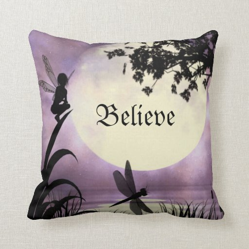 Throw Pillows Under 5 Dollars : Believe fairy throw pillow Zazzle