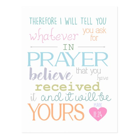 Believe Faith Prayer Mark 11 24 Bible Verse Postcard