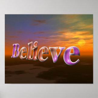 Believe Fantasy Sun Sky Inspirational Poster