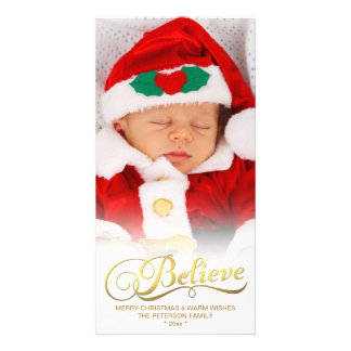 BELIEVE Faux Gold Foil Christmas Photo Card