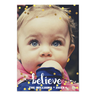 BELIEVE Faux Gold Foil Confetti Holiday Photo Card