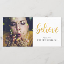 Believe Faux Gold Modern Script Holiday Photo