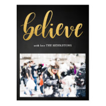 Believe Faux Gold Script Chalkboard Photo Postcard