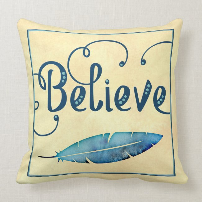 Believe Feather Watercolor Fancy Typography
