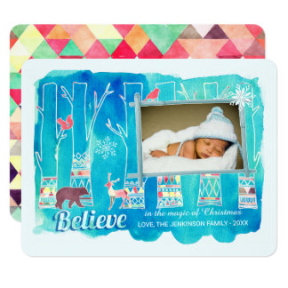 Believe Festive Woodland Watercolor Holiday Photo Card