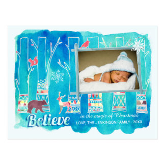 Believe Festive Woodland Watercolor Holiday Photo Postcard