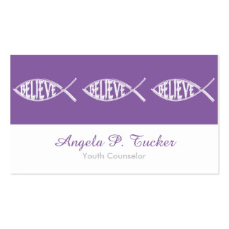 Believe Fish Lavender Business Cards