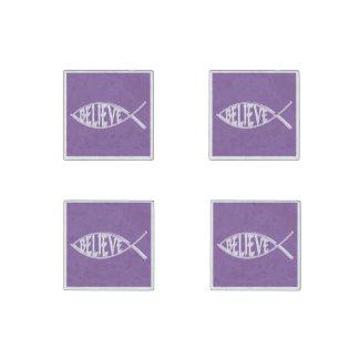 Believe Fish Lavender Stone Magnet
