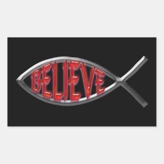 Believe Fish - Red Rectangular Sticker