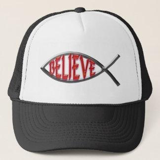 Believe Fish- Red Trucker Hat