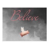 believe-flying pig postcard
