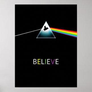 Believe-Flying Pig Prism Design Poster