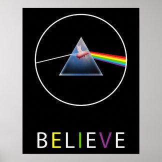 Believe-Flying Pig through Prism Design Poster