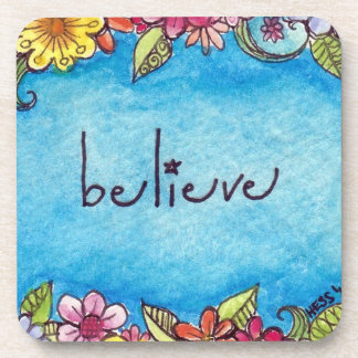 Believe Garden cork coasters
