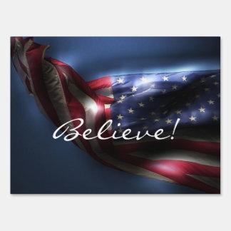 Believe!-Glowing American Flag Yard Sign