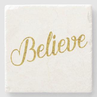 Believe Gold Faux Glitter Metallic Inspirational Stone Coaster