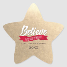 Believe. Gold Foil Custom Christmas Stickers at Zazzle