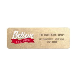 Believe. Gold Foil Return Address Labels