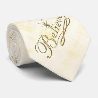 """Believe"" Golden Typography and Star Spray Neck Tie"