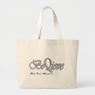 Believe Grey Large Tote Bag