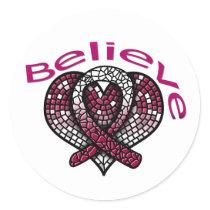 Believe Head and Neck Cancer Classic Round Sticker