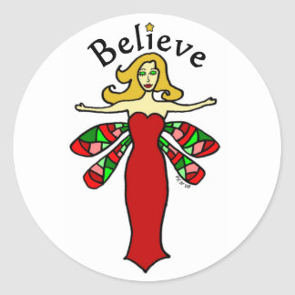 Believe Holiday Dragonfly Fairy Classic Round Sticker