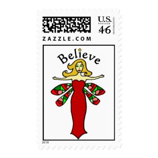 Believe Holiday Dragonfly Fairy Postage