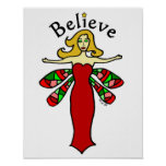 Believe Holiday Dragonfly Fairy Poster