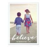 "BELIEVE   HOLIDAY PHOTO CARD 5"" X 7"" INVITATION CARD"