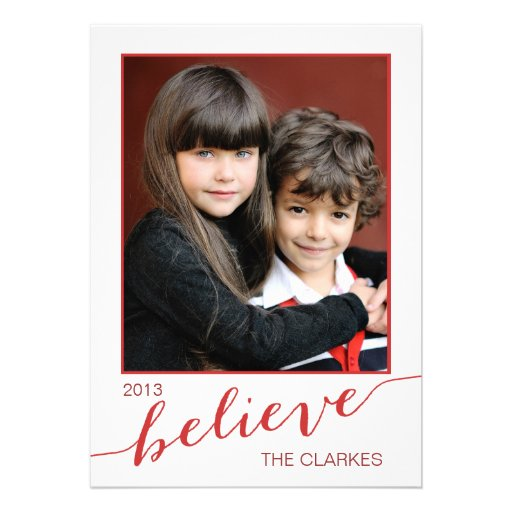 Believe Holiday Photo Cards | Red and White