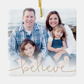 Believe Holiday Photo Keepsake Ceramic Ornament