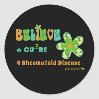 Believe in a cure for RA / RD Classic Round Sticker