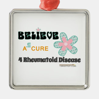 Believe in a cure for RA / RD Square Metal Christmas Ornament
