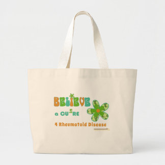 Believe in a cure for #rheum large tote bag