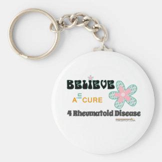 BELIEVE in a cure for rheumatoid disease/arthritis Keychain
