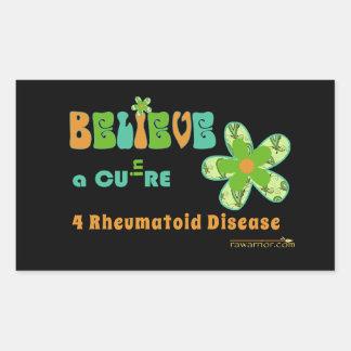 BELIEVE in a cure for rheumatoid disease/arthritis Rectangular Sticker