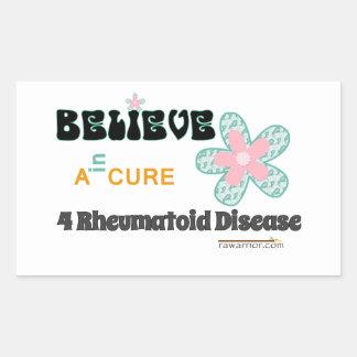 Believe in a cure rectangular sticker