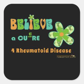 Believe in a #rheum cure square sticker