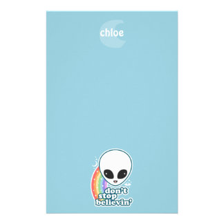 Believe in Aliens Monogram Stationery