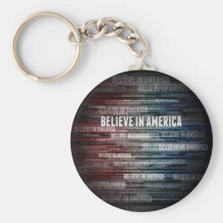 Believe In America Basic Round Button Keychain