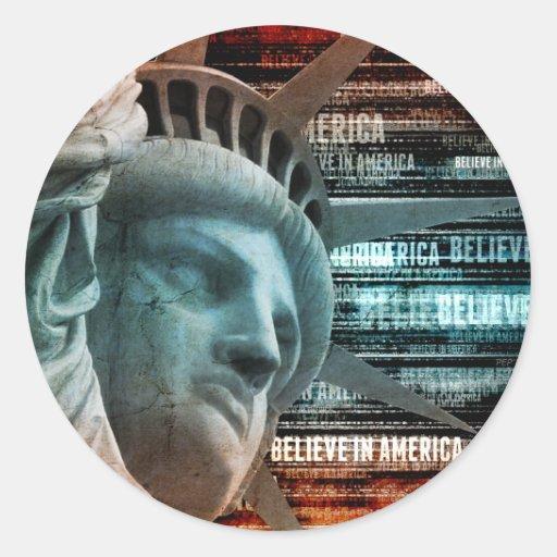 Believe In America Classic Round Sticker
