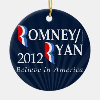 Believe in America, Romney/Ryan 2012 Double-Sided Ceramic Round Christmas Ornament