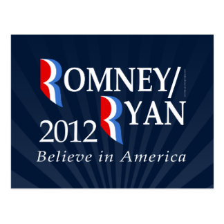 Believe in America, Romney/Ryan 2012 Postcard