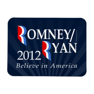 Believe in America, Romney/Ryan 2012 Rectangular Photo Magnet